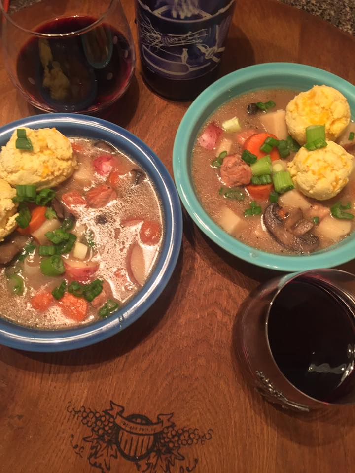 Gluten free deconstructed pork pie soup and biscuits